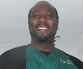 Man in hospital scrubs